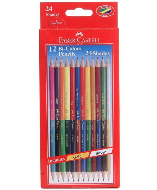 FABER CASTELL - BI-COLOUR PENCILS - 12 PIECE