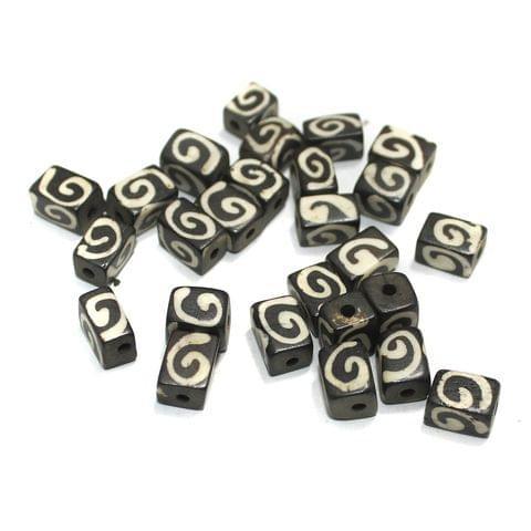 50 Pcs Bone Beads 12x9mm Cube