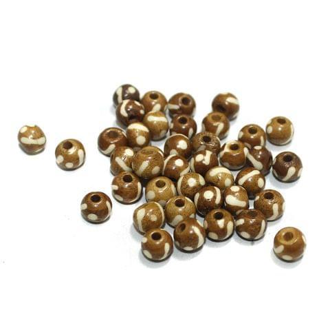 100 Pcs Bone Beads 7mm Round
