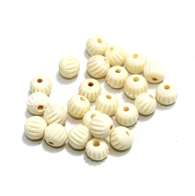 100 Pcs Bone Beads 8mm Round
