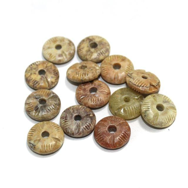 50 Pcs. Soap Stone Carved Rondelle Beads 16x5 mm