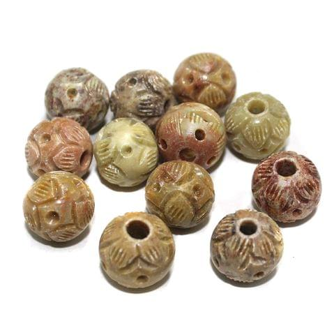 50 Pcs. Soap Stone Carved Round Beads 16mm