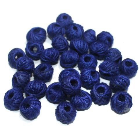 100 Pcs. Cotton Thread Round Beads Blue 12x8 mm