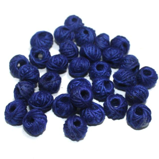 100 Pcs. Cotton Thread Round Beads Blue 12x8 mm