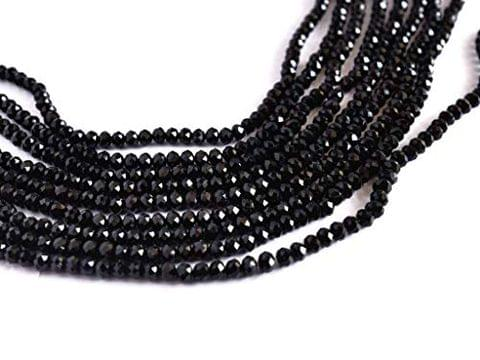 10 Strings Glass Black Faceted Crystal Beads 2mm