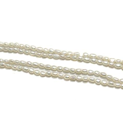 2 Strings Water Pearl Beads 4x3mm Off White