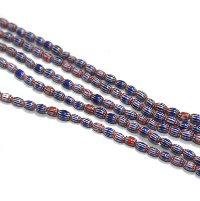 Chevron Designer Oval Beads Size 5x4 mm, Pack Of 1 String