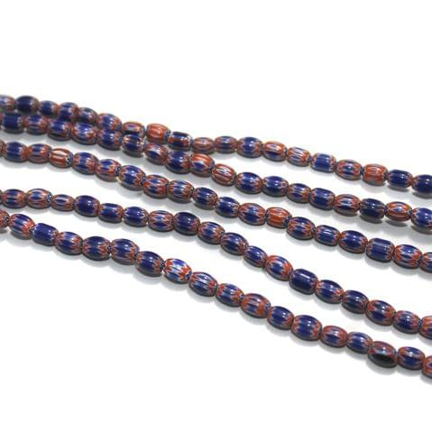 Chevron Designer Oval Beads Size 6x4 mm, Pack Of 1 String