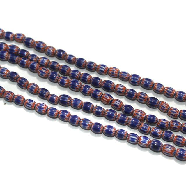 Chevron Designer Oval Beads Size 6x5 mm, Pack Of 1 String