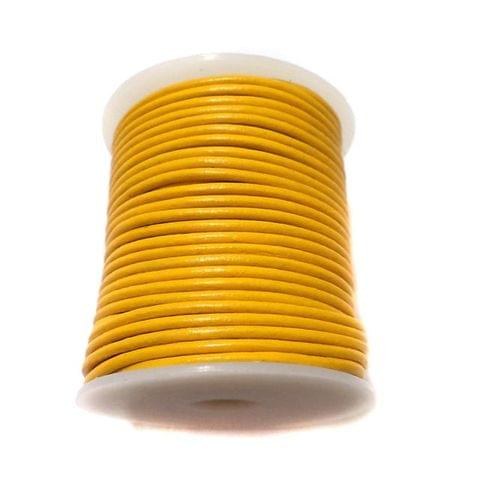 Leather Cord Yellow For Jewellery Making, Size 2 mm, Pack of 25 mtr