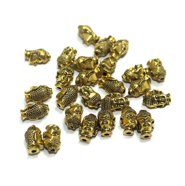 German Silver Buddha Beads Golden, Pack Of 25 Pcs, Size: 13x8mm