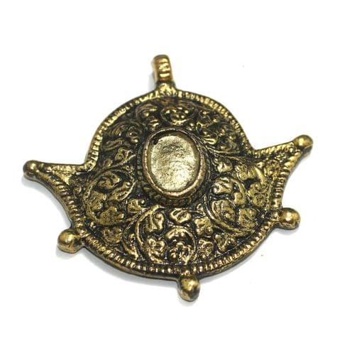 Antique Golden Finish Metal Pendant 3 Inch