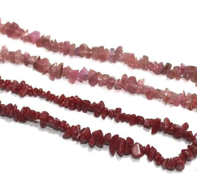 2 Strings Glass Uncut Beads Combo Pink 5-8mm