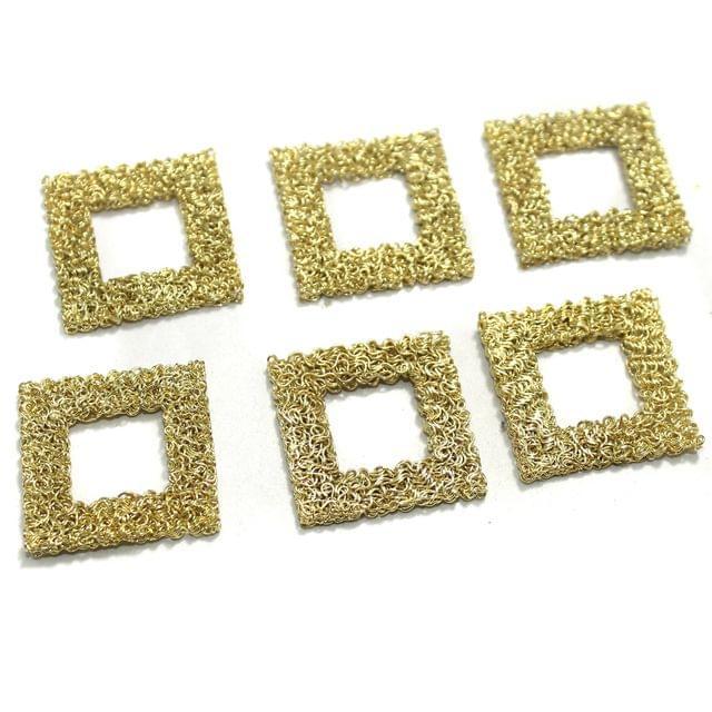 20 Pcs Wire Mesh Beads Golden 26x26mm