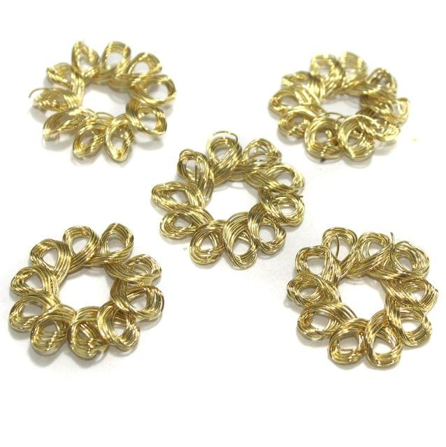 20 Pcs Wire Mesh Beads Golden 32mm