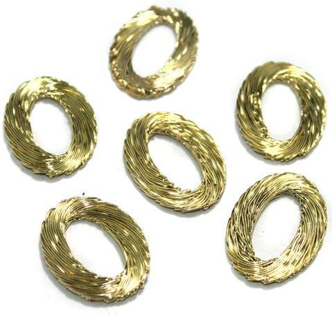 20 Pcs Wire Mesh Beads Golden 36x24mm