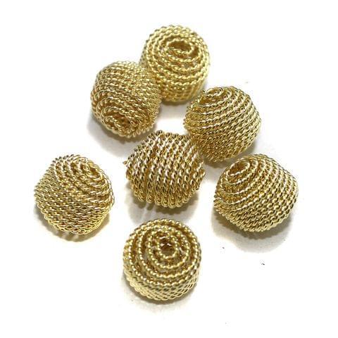 20 Pcs Wire Mesh Beads Golden 14x12mm