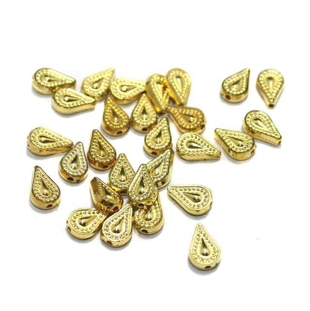 200 Pcs Acrylic Drop Beads Golden 12x8mm