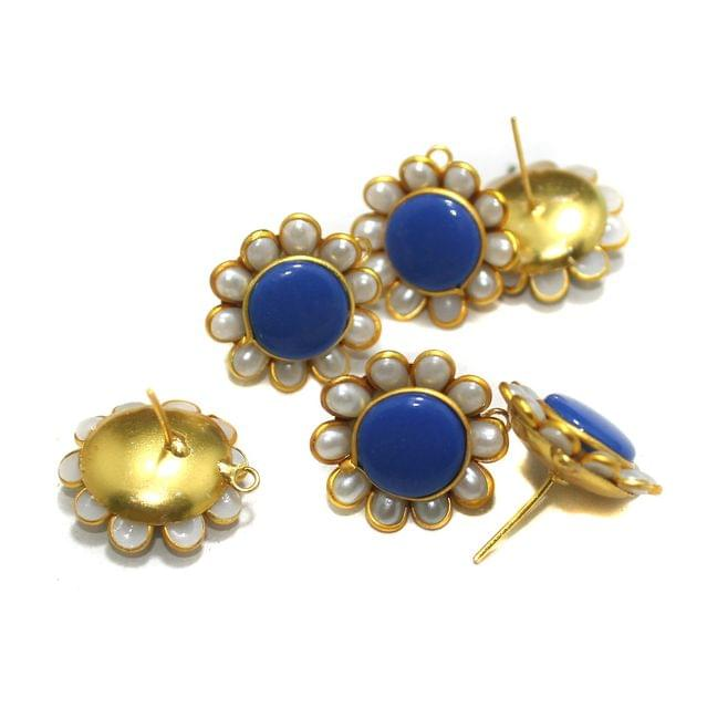 5 Pairs Single Layer Pacchi Earing Tops Blue 20mm