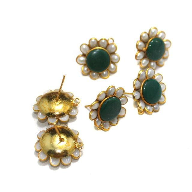 5 Pairs Single Layer Pacchi Earing Tops Green 20mm