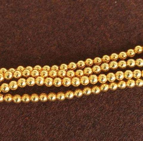 Brass Mani Gold plated Beads, Size 5 mm, Pack of 1 string, Approx 150 Pcs