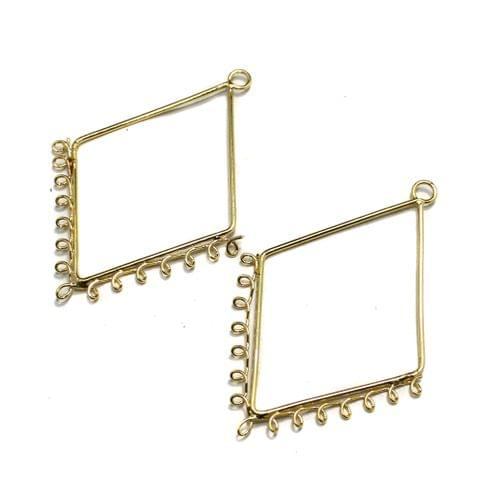 5 Pairs Metal Earrings Components Diamond 2 Inch