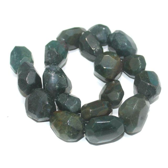 Faceted Tumble Tree Agate Dark Green Stone Beads 18-25 mm