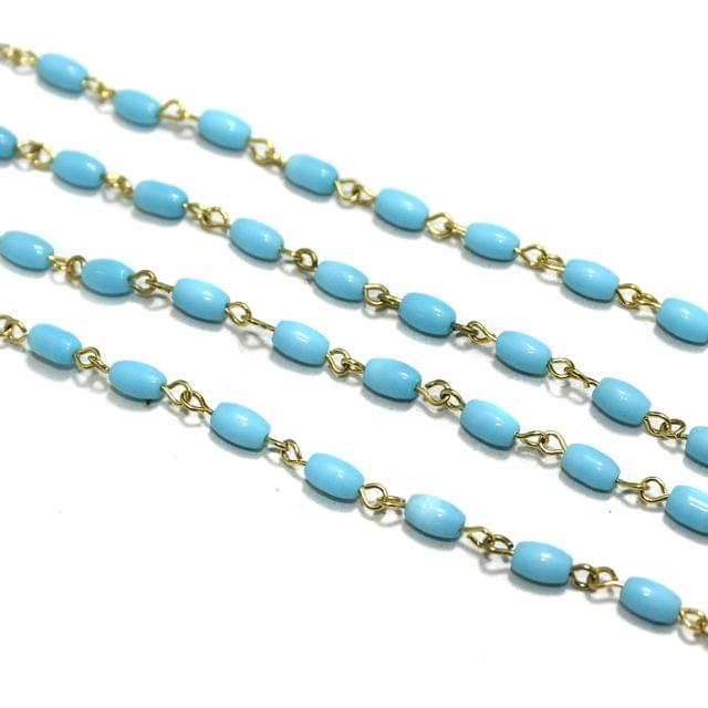 1 Mtr Glass Oval Beaded Chain Turquoise 7x4mm