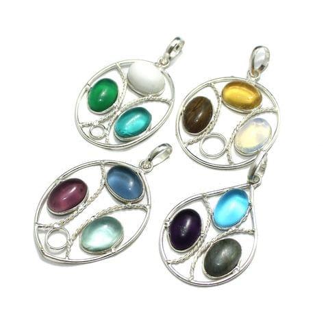 4 Pcs Stone Pendants Combo Silver 1.5 inch