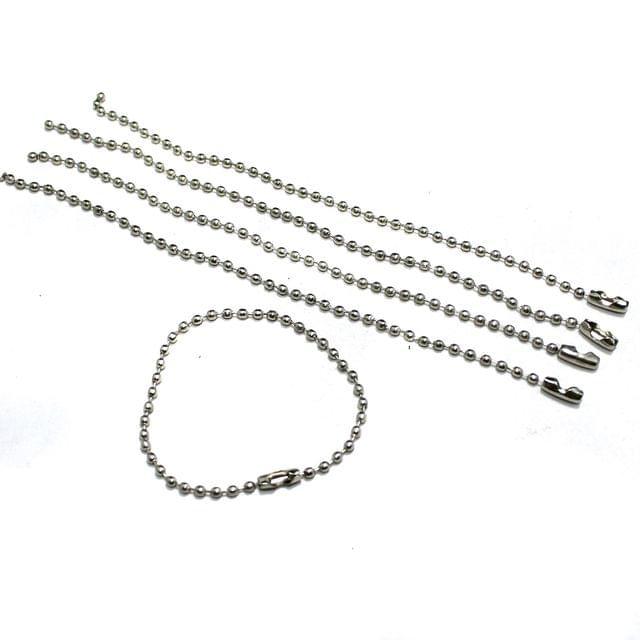 20 Pcs 2mm Metal Ball Chain Extender Silver 5 Inch
