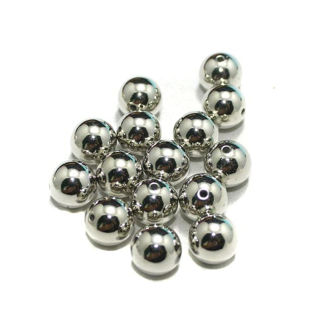 50 Pcs CCB Round Beads Silver 10 mm