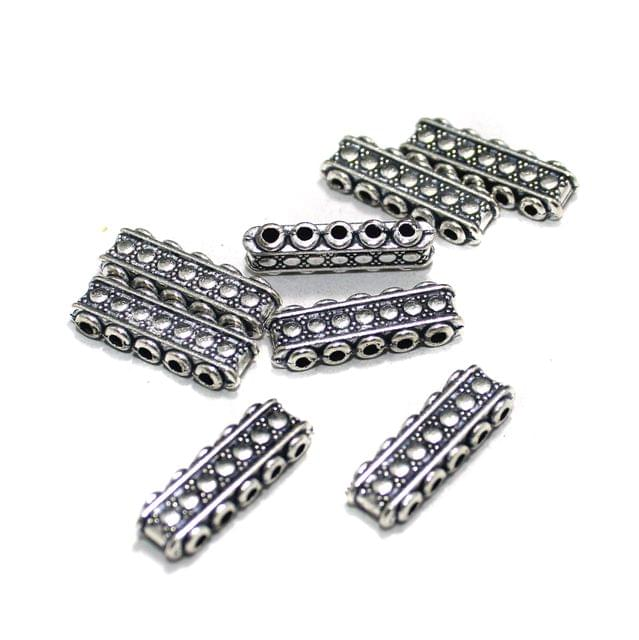 20 Pcs German Silver 5 Strands Connectors Silver 21x6mm