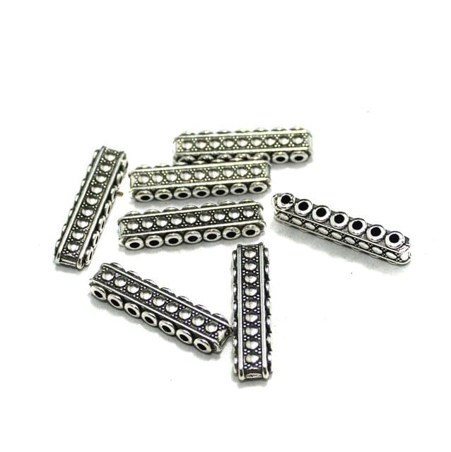 20 Pcs German Silver 7 Strands Connectors Silver 29x6mm