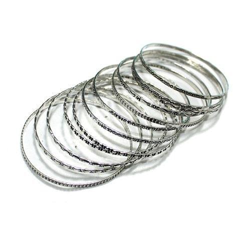 12 Pcs Bangle Base Silver 2`4 Inch