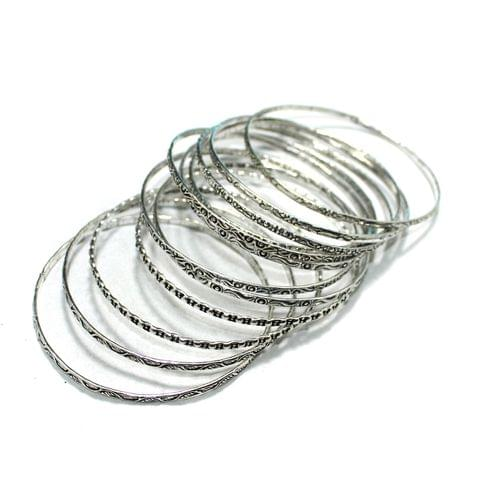 12 Pcs Bangle Base Silver 2`8 Inch