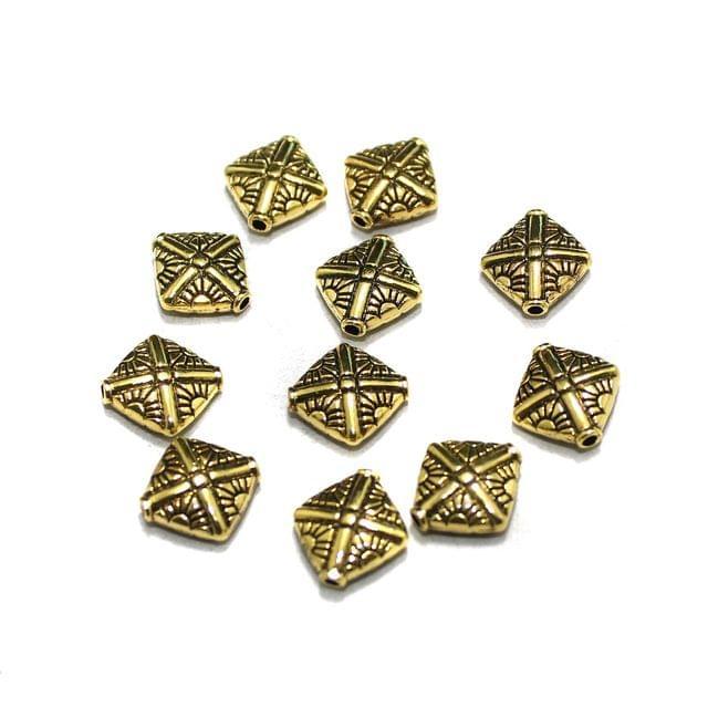50 Pcs German Silver Kite Beads Golden 10x10mm