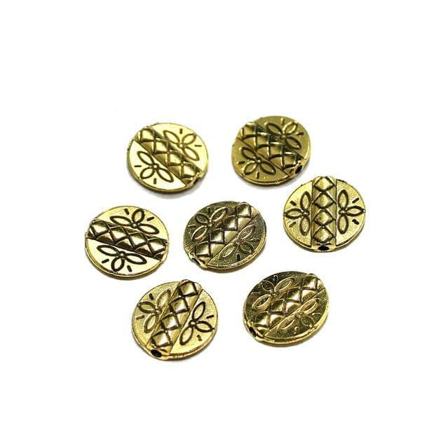 50 Pcs German Silver Flat Round Beads Golden 11mm
