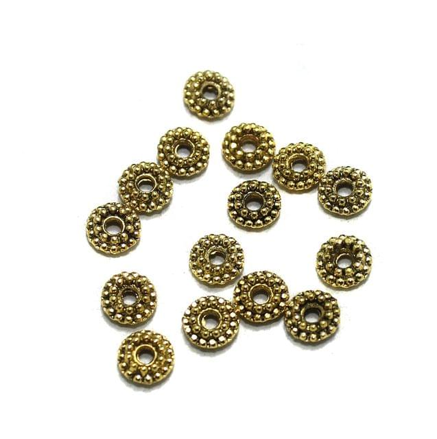 100 Pcs German Silver Round Spacer Beads Golden 5mm