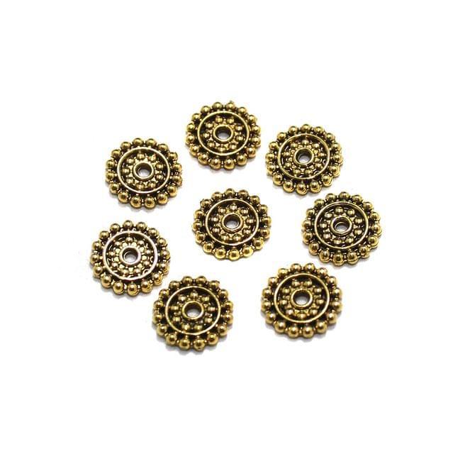 50 Pcs German Silver Round Chakri Golden 11mm