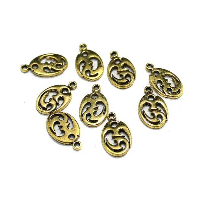 50 Pcs German Silver Charms Golden 13x9mm