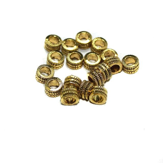 50 Pcs German Silver Round Spacer Beads Golden 5mm