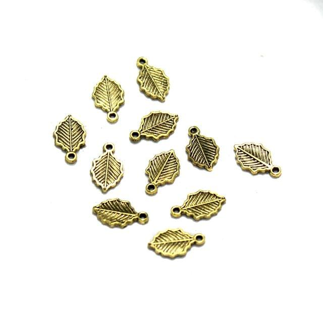 100 Pcs German Silver Small Leaf Charms Golden 9x4mm