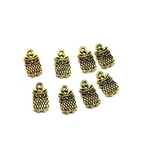 50 Pcs German Silver Owl Charms Golden 13x6mm