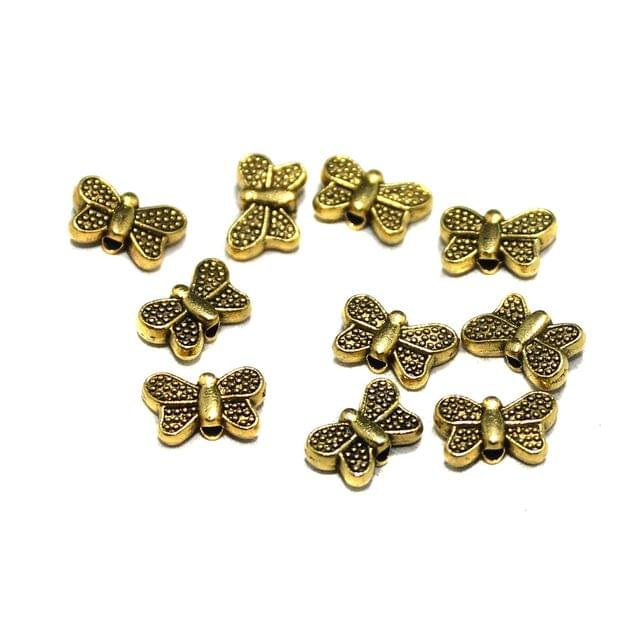 50 Pcs German Silver Butterfly Charms Golden 5x9mm