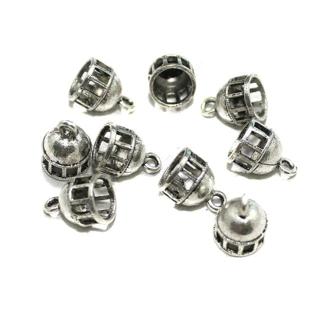 50 Pcs German Silver Cage Charms Silver 8x8mm