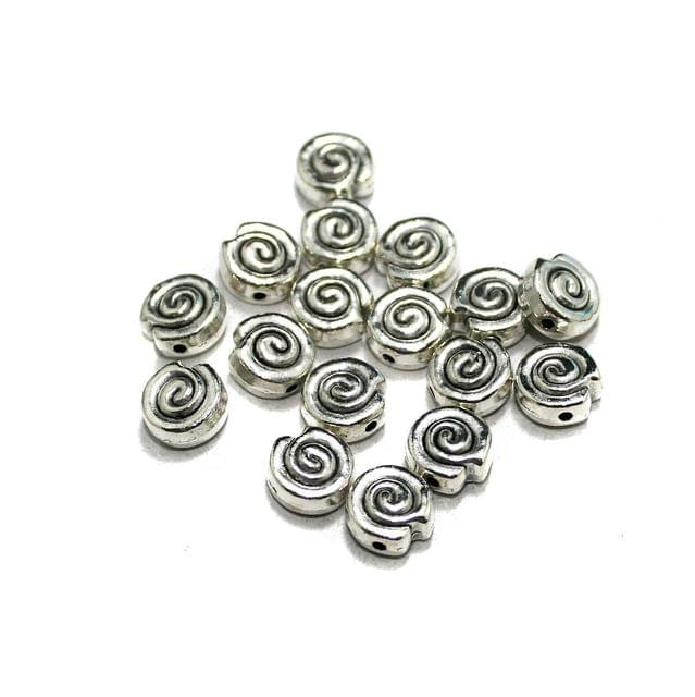 50 Pcs German Silver Beads Silver 8mm