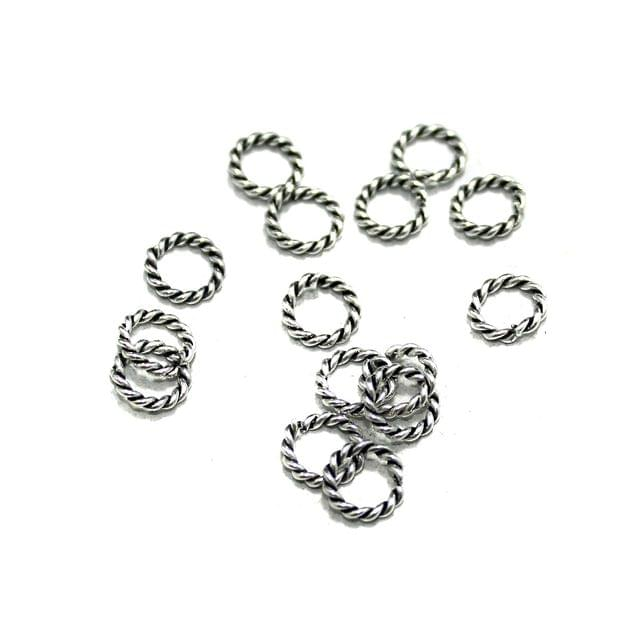 100 Pcs German Silver Twisty Rings Silver 6mm