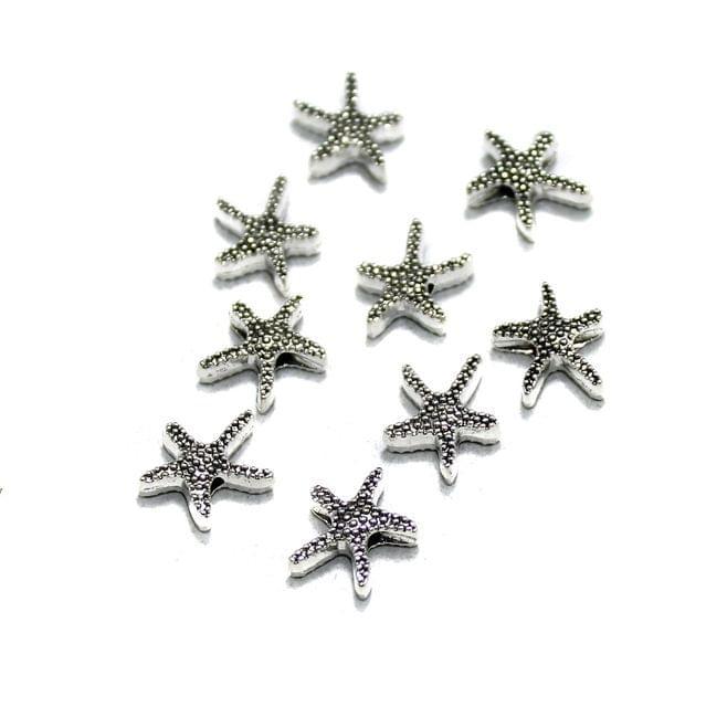 50 Pcs German Silver Star Fish Beads Silver 12x12mm