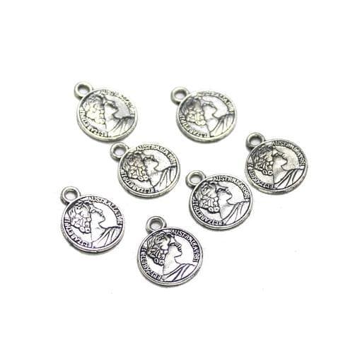 100 Pcs German Silver Queen Elizabeth Charms Silver 11mm