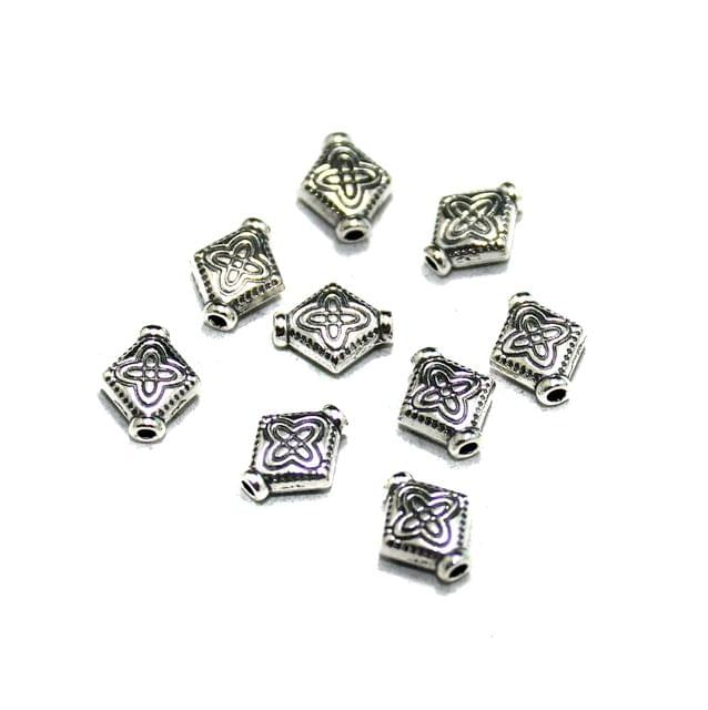 50 Pcs German Silver Kite Beads Silver 8x7mm
